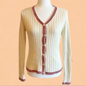 Vintage 90s ribbed knit cream button up cardigan with red trim